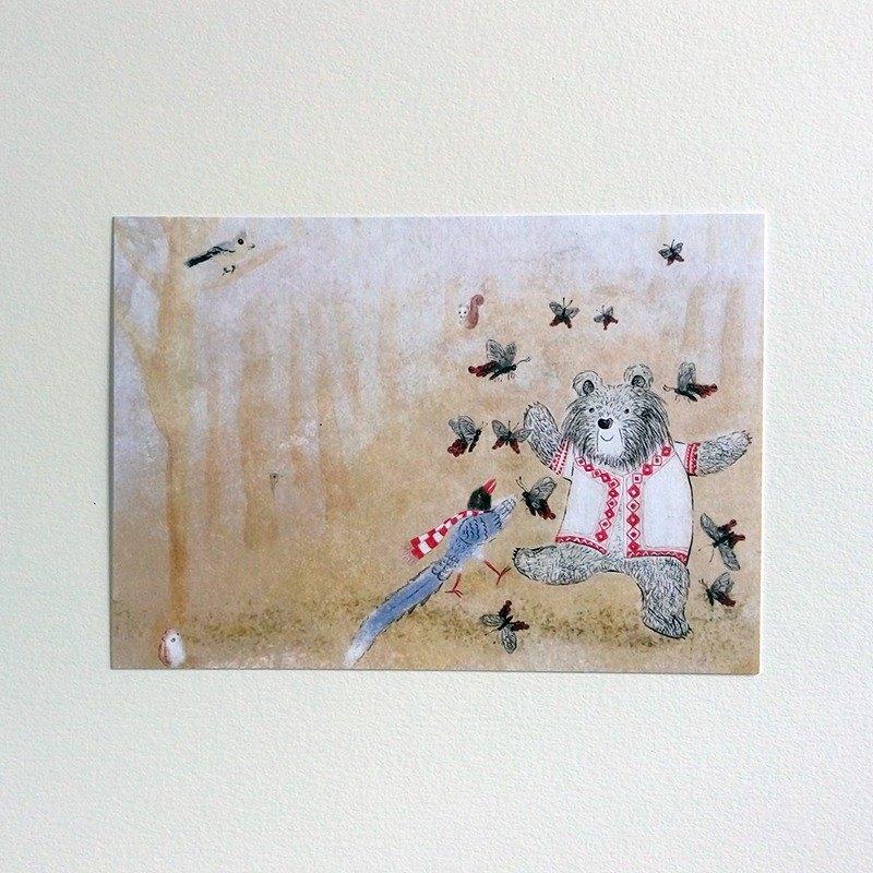 遇見台灣高山特有種插畫明信片 台灣藍鵲 台灣黑熊 黃山雀 明信片