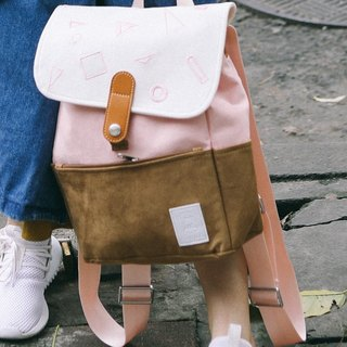 MR.STORE Family fitted macarons coffee peach pink embroidery backpack