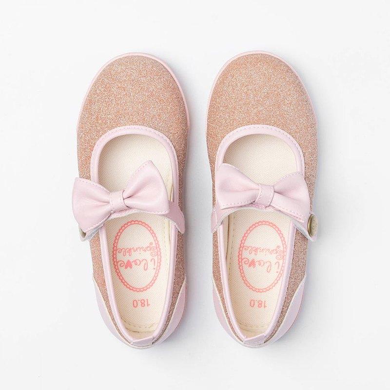 Ting粉紅亮蔥蝴蝶結娃娃鞋
