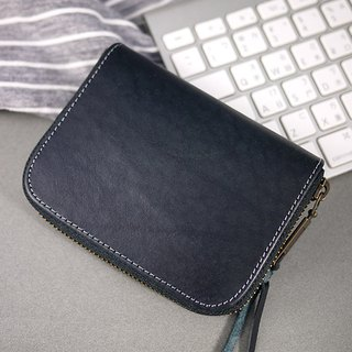 Gentleman black. Italian vegetable tanned leather. Classic short clip / wallet / wallet / coin purse