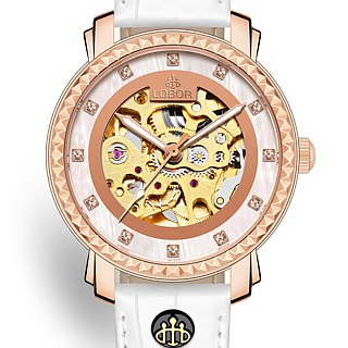 Premier Cornwall 32mm Japanese mechanical watch movement rose gold leather strap LOBOR
