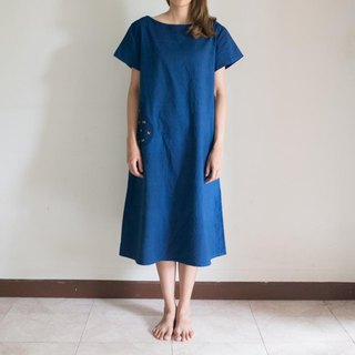 Hyotan dress | Natural cotton deep blue dye indigo