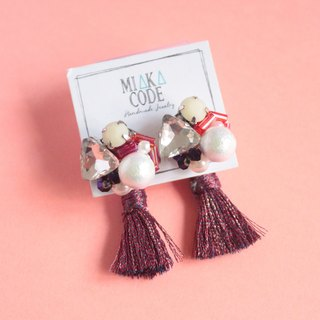 Hand-beaded Cotton pearls Jewelry with (Brick red)Tassel Earrings/Ear-clips