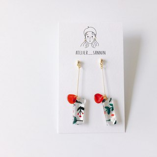Mistletoe and Holly Series - red bells hand-painted handmade earrings hanging ear acupuncture / ear clip