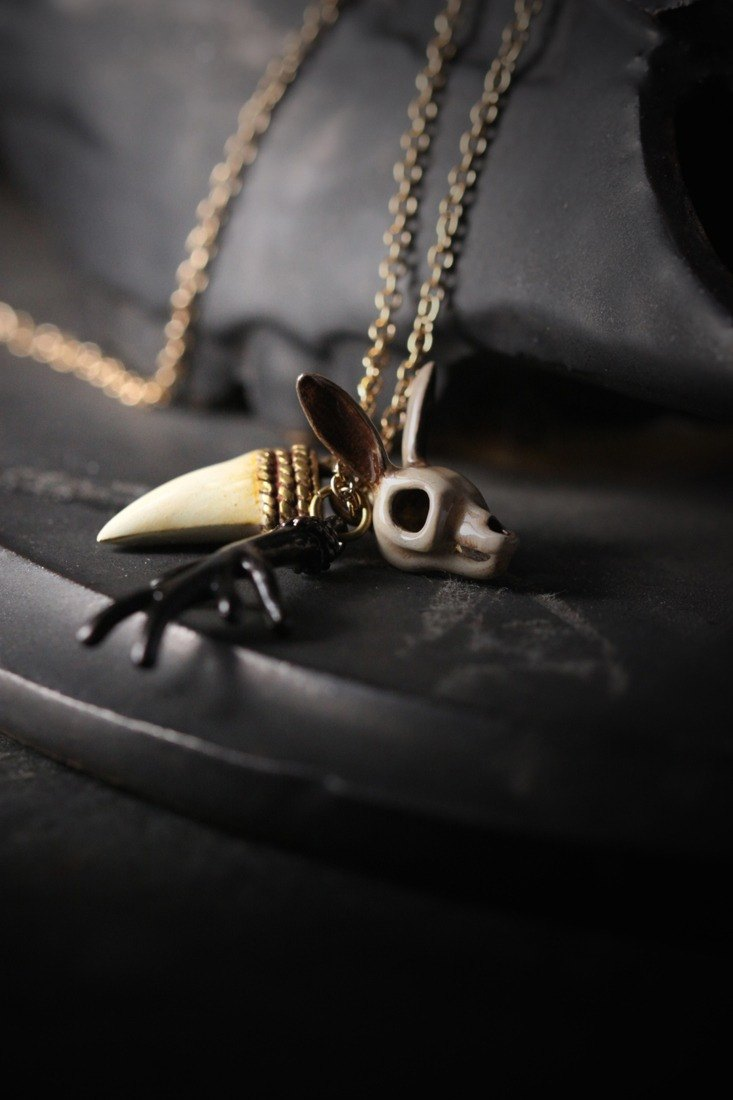 Rabbit Skull , Antler and Tiger Fang Charm Necklace by Defy