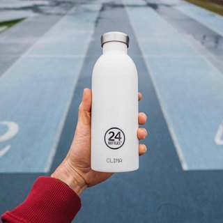 New 24Bottles - Clima Bottle Ice White (500ml) - Stainless Steel Insulated Water Bottle - 24 hours of ice protection, 12 hours of insulation