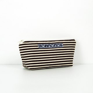 Lightweight - Delicate textured storage bag - striped brown