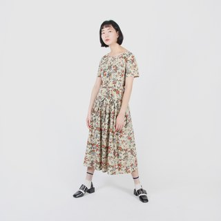 [Egg plant ancient] ancient European illustration printed cotton vintage dress