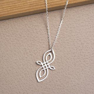 Silver long knot necklace
