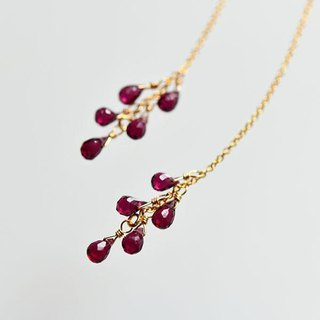 Drops Rhodolite garnet Chandelier-like American earrings January's birthstone