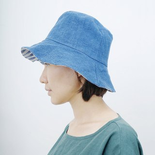 Mushroom MOGU / natural dye / double-sided cap / blue and white stripes