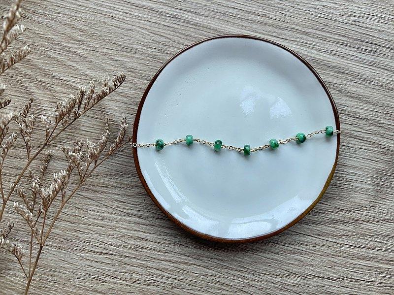 母親節禮物-老坑辣綠算盤珠翡翠14k包金手鍊