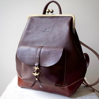 Tochigi leather made hamakuguchi Nume leather backpack ruotare L Bitter Brown