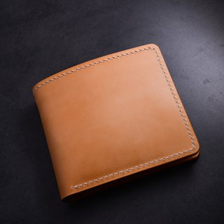 Cans Handmade Handmade Bi-fold Cross Wallet Japanese vegetable tanned leather Short-cut cloth Minimalism Cowhide Wallet