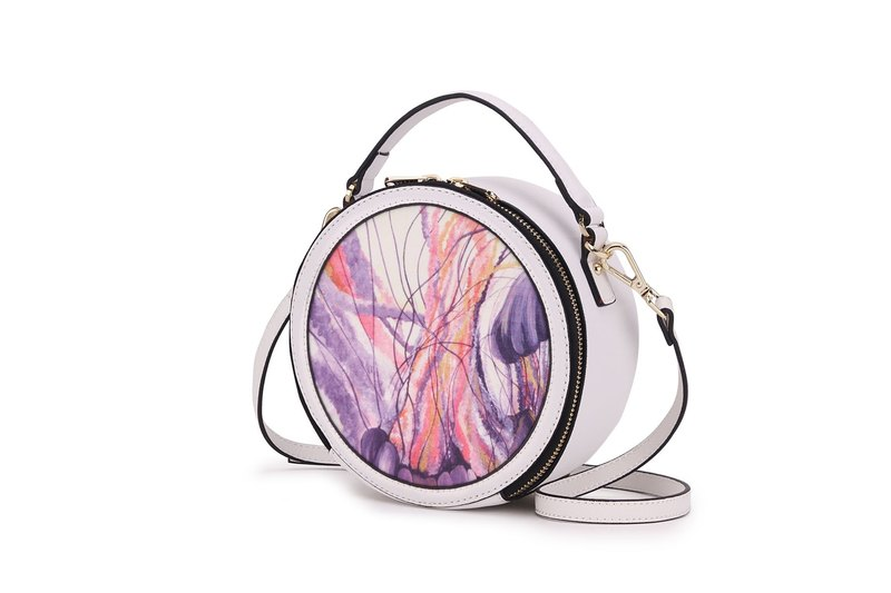 S8O canvas messenger bag style round series white mysterious marine jellyfish