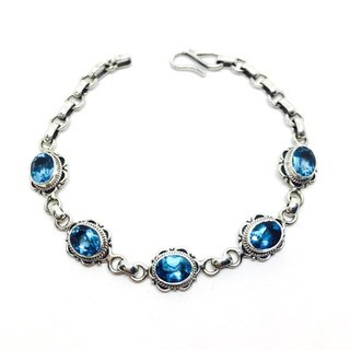 Blue topaz blue topaz sterling silver inlaid hand-made lace bracelet Nepal