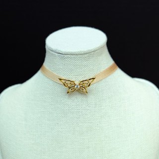 Monde des Insects Butterflymoon Series Butterfly Silver Studded Gold Plated Collar