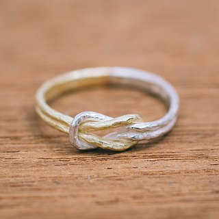 Enmusubi ring - 18K and silver - Japanese knot - thin ring - Symbolic ring