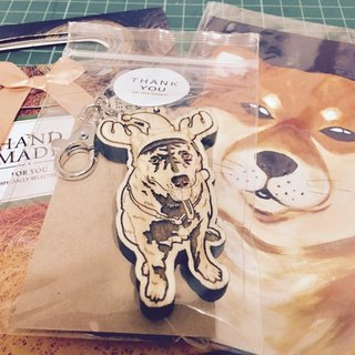 Lectra wood duck dog ♣ ♣ (customized) exclusive boutique key ring / necklace tabby dog ​​[articles] \ threw a postcard dogs and cats
