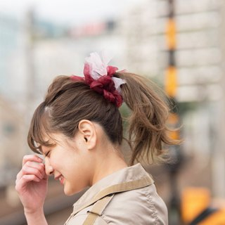 Wine || Blooming Sakiami Colourful Hair Scrunchy / Hair Accessory / Hair Tie