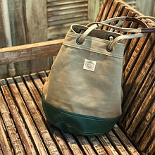 Khaki/ Green Canvas 2way Bucket Bag w/  Strap Leather Handles.