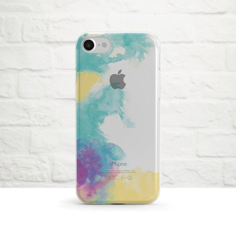 水暈-紫黃-防摔透明軟手機殼- iPhone 系列, Samsung