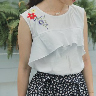 Gorgeous office worker series shoulder embroidered lotus leaf shirt