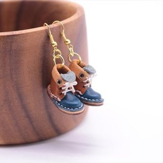 Small leather boots swaying swinging Earrings × chop navy