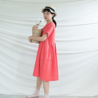 Raspberry Pleated Linen Dress