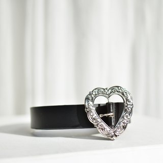 Black Leather Vintage Heart Belt