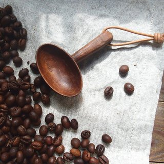 Clean up. Hand made wooden oval coffee beans spoon lanyard - walnut