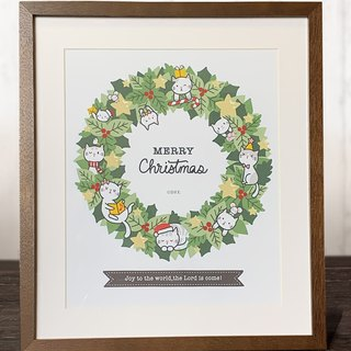 Christmas lease and cat poster / print four cuts