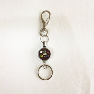 key ring with reel, Czech vintage glass beads  brown