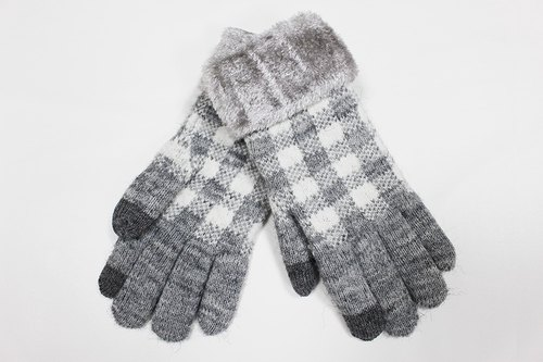 [Winter ceremony] touch knit gloves gray grid limited models