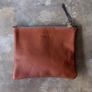 Raw Tan Clutch Purse / Vintage Brown Leather Zip Clutch