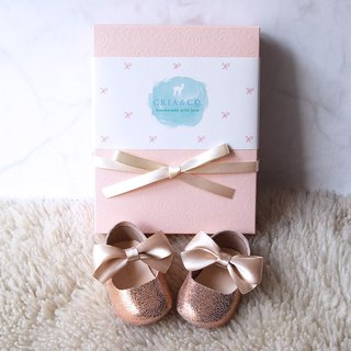 Rose Gold Baby Girl Shoes Gift Set, Baby Shower Gift, Newborn Crib Shoes