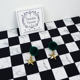 Green hair ball star earrings