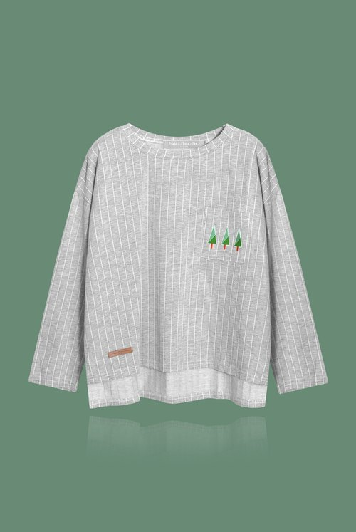 [Christmas special] three small thin trees | Straight stripes casual kick