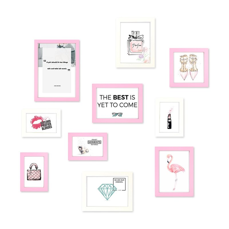 HomePlus simple frame pink + white 10 into the combination of the Maca dragon style girl style interior design solid wood frame layout furnishings frame photo wall creative wall stickers