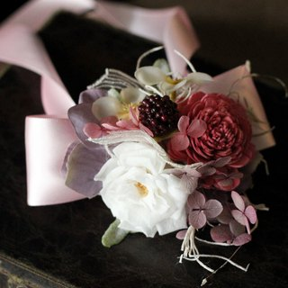 Wrist flower Amaranth [series] pink bow and white roses