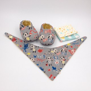 Hand-painted panda - Miyue baby gift box (toddler shoes / baby shoes / baby shoes + 2 handkerchief + scarf)