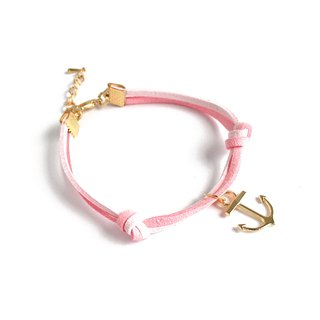 Handmade Simple Stylish Anchor Bracelets Rose Gold Series–light pink