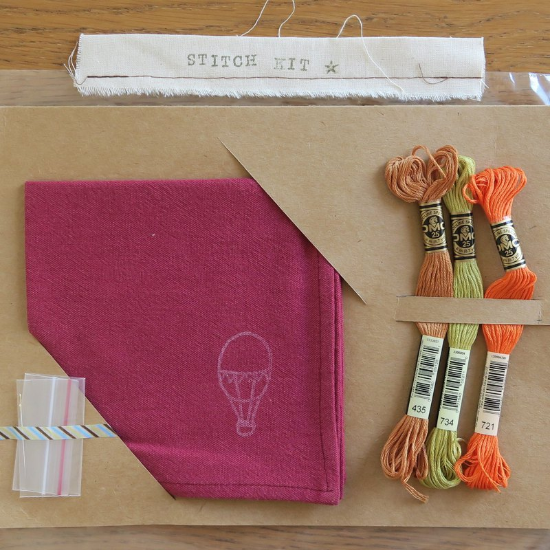 Embroidered hand made material pack | Plum red square towel | Dream hot air balloon
