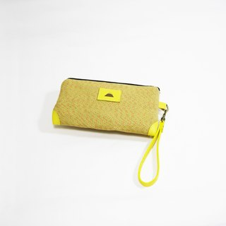 ● yellow mixed / leather zipper mobile phone bag (Japanese cotton weave) _ _ Zuo zuo hand system Fuji Shan Lei carved cloth / leather package