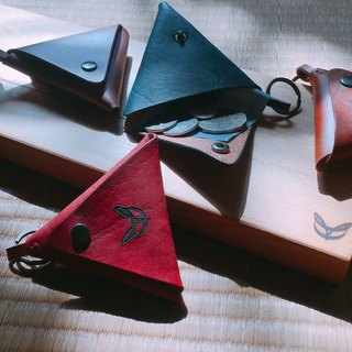 Nostalgic triangle coin purse - vegetable tanned leather hand dye
