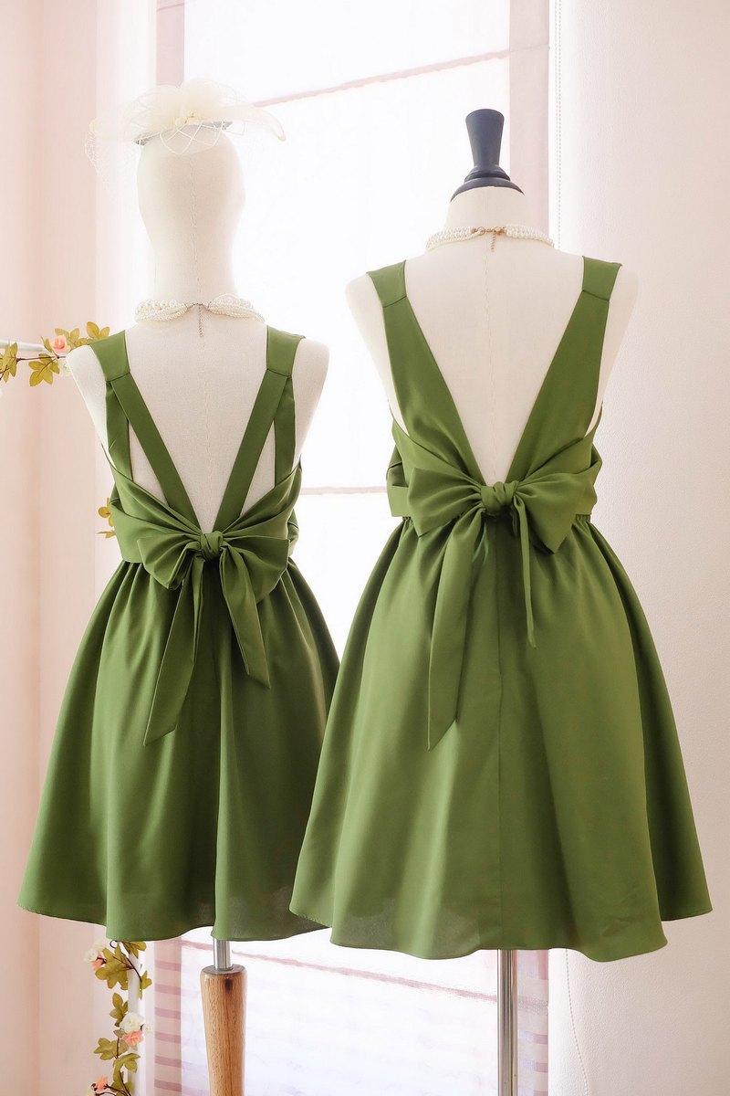 青苔綠色連衣裙伴娘禮服露背派對雞尾酒短禮服
