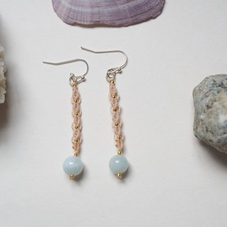 海蓝宝│ Natural stone │ hand-woven earrings light peach color
