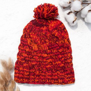 Hand-knitted pure wool hat / knit hat / knitted hat / inner brush hair hand-woven hat - Nordic orange strawberry