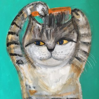 Hairy cat original painting