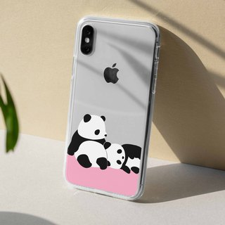 Two Panda Clear TPU Phone Case iPhone X 8 7 plus Samsung Note 8 S8 S7 edge Sony
